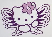 Hello Kitty Butterfly (Purple) with Lavender Bow Car Window Decal *Free Gift