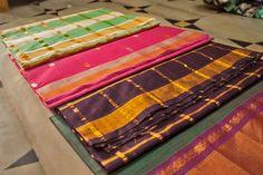 Different varieties of Venkatagiri sarees.