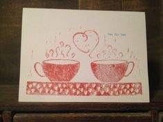 Tea Love 5 x 7 Linocut Print Card Red by Cosmikgoo on Etsy, $6.00