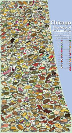 Chicago Food Map: Wouldn't it be fun to see a map like this for Kansas City? Chicago Map, Chicago Travel, Chicago Style, Chicago Illinois, Food Map, The Blues Brothers, My Kind Of Town, Chicago Restaurants, Best Cities