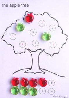 advertisement - continue below Today's fine motor idea is all about counting apples! Oh how my 3 year old loves apples. For good measure . Math Activities For Kids, Free Games For Kids, Math For Kids, Motor Activities, Autumn Activities, Preschool Ideas, Teaching Ideas, Craft Ideas, Preschool Learning