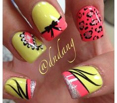 Pink & yellow variety nails