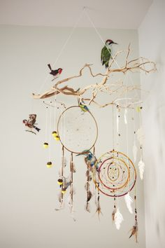 Very earthy and pretty baby mobile for over a crib or just nursery decoration!