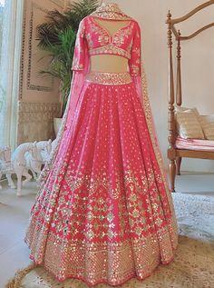 Ghagra Choli, Bridal Lehenga Choli, Lehnga Dress, Pink Lehenga, Indian Lehenga, Indian Dresses, Indian Outfits, Indian Clothes, Mirror Work Lehenga