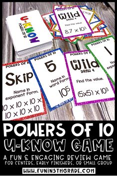 Powers of 10 UKNOW review game for 5th grade is a fun and engaging way to practice and review this math skill! Students will practice multiplying and dividing powers of 10 as well as determining the power of 10 in exponent form. Students will be BEGGING to play this fun review game!  It is easy to use- print and go and can be used over and over again!