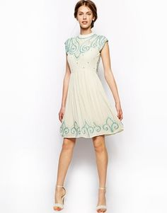 Frock and Frill High Neck Embellished Shift Dress with Cap Sleeve