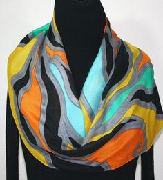 Silk Scarf Hand Painted Silk Shawl Orange by SilkScarvesColorado