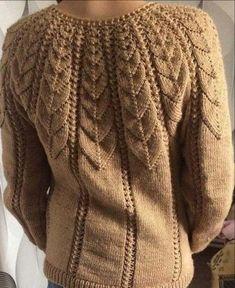Knitted sweater with knitting needles with an openwork yoke performed by Lyubov Bocharova Sweater Knitting Patterns, Crochet Cardigan, Lace Knitting, Knitting Stitches, Knitting Designs, Knit Crochet, Knitting Needles, Vogue Knitting, Knitwear Fashion