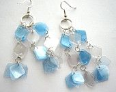 Recycled blue white earrings made of plastic bottles eco friendly, upcycled jewelry, clear, crystal, fresh, sea, sky colors