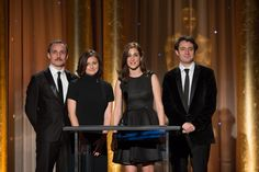 Actor Milos Timotijevic (left) , Vanesa Glodjo (left center), Zana Marjanovic (right center)and Nikola Djuricko speak as part of the award presentation to Jean Hersholt Humanitarian Award recipient Angelina Jolie