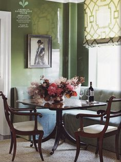 Like this little dining nook in a Manhattan living room - high gloss green walls, built-in banquette, Regency table and chairs - Phoebe Howard in House Beautiful, photo by Ngoc Minh Ngo Living Room Nook, Dining Nook, Living Spaces, Sunroom Dining, Nook Table, Dining Table, Green Dining Room, Green Rooms, Green Walls