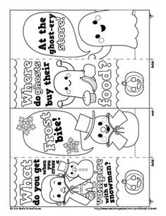 a cute coloring activity for students halloween joke bookmarks this set contains four designs featuring original artwork - Halloween Book Marks