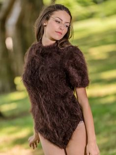 Tiffy Mohair - Brown hand knitted T-neck Mohair bodysuit Fluffy Sweater, Mohair Sweater, Gros Pull Mohair, Thing 1, Angora, Fur Fashion, Catsuit, Pullover, Knitting