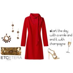 Etcetera | Holiday 2015: CABARET red dress with detachable scarf. www.etcetera.com.