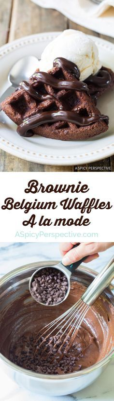 Amazing Chocolate Chip Brownie Belgium Waffles a la Mode on ASpicyPerspective.com #chocolate