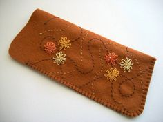 Brown Eyeglass Case Hand Embroidered by HandcraftedorVintage