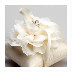 wedding ring pillow ivory Laurel flower on ivory silk by woomipyo, $40.00