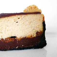 The perfect way to ring in the big 3-0: A peanut butter cheesecake with a fudge layer, peanut butter cups, and a ganache topping.