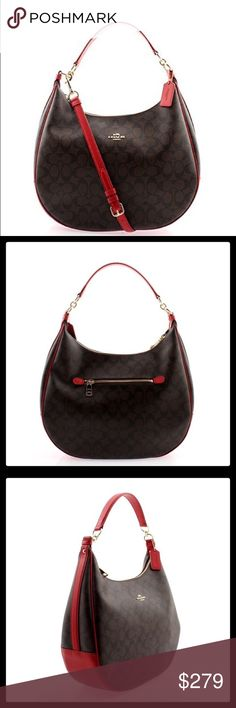 """🆕COACH HARLEY HOBO BAG Brand New With Tags Coach Signature Print Harley Hobo in Brown/True Red Inside zip, cell phone and multifunction pockets  Zip-top closure, fabric lining  Handles with 11 3/4"""" drop  Outside zip pocket  Longer strap with 22 1/2"""" drop for shoulder or crossbody wear  14 1/4"""" (L) x 10"""" (H) x 4 1/2"""" (W)🆓 ✅ Free $5 or less item in my closet with any purchase ✅ I love to receive offers. 15% off bundle of 2 or more. Higher discount considered for larger bundles ❌No trades…"""