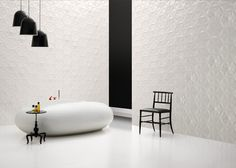 Dutch designer Marcel Wanders creates an interior garden of ceramic flowers with his wall cladding design, Frozen Garden, for Bisazza's 2014 collection. 3d Tiles, Wall Tiles, Garden Tiles, Vertical Garden Design, Mad About The House, Tile Showroom, Bathroom Collections, White Tiles, Frozen