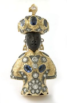 "18 kt. gold ""Elizabeth Taylor Moretto"" brooch with sapphires and diamonds. ©2010 Nardi"