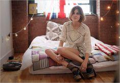 alexa chung chilling at home. futon?