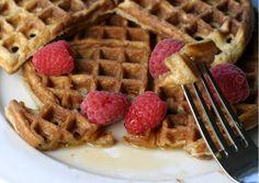 Coconut flour waffles with raspberries