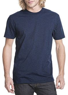 Next Level Men's CVC Jersey T-Shirt, midnight navy, Large (Pack of 3). 4.3-oz. 32 singles for extreme softness. slightly heathered. 1x1 baby rib-knit set-in collar.