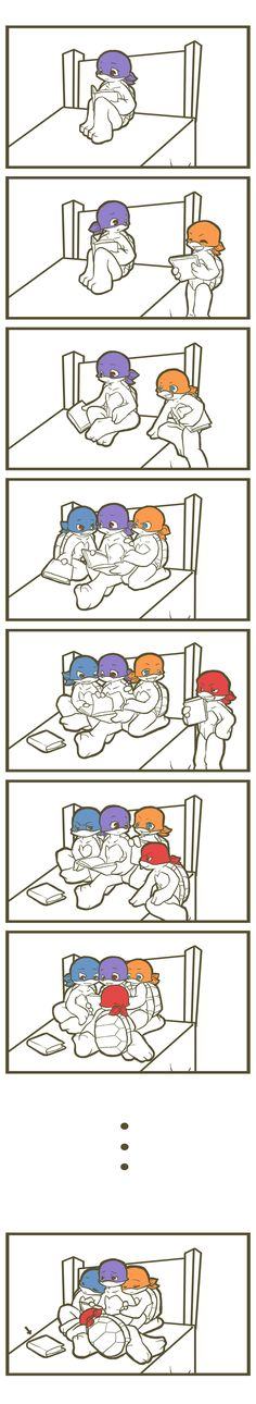 TMNT: Bedtime story by NamiAngel.deviantart.com on @deviantART--LOL yep that's usually what happens when you hang with sibs. No regrets though, just wish the book was closer so I didn't have to wake them.