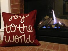 Hand Painted 'Joy to the World' Christmas Pillow