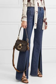 856ee92a93ca2a Chloé | Tess small croc-effect leather and suede shoulder bag | NET-A