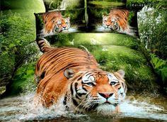 Vivid Tiger Jumping into Water Print 4-Piece 3D Duvet Cover Sets #tiger #3dbedding #beddingset  Live a better life start with @beddinginn