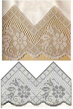 Crochet Lace Risultato immagine per filet crochet edging Crochet Lace Edging, Crochet Motifs, Crochet Borders, Thread Crochet, Crochet Trim, Love Crochet, Vintage Crochet, Crochet Doilies, Easy Crochet