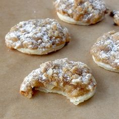 Apple Pie Cookies: easy recipe but sooo yummy! Uses refrigerated pie crust, canned pie filling + homemade streusel topping. Like eating a piece of pie but this one's easier & less mess :) Could also use any other pie filling of your choice..