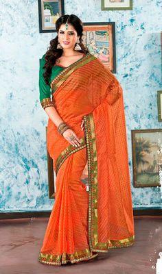 Deep Orange Embroidered Tissue Saree Price: Usa Dollar $108, British UK Pound £64, Euro80, Canada CA$117 , Indian Rs5832.
