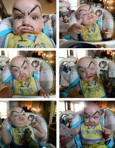 eyebrows on babies equals hilarious... and his bib reads I Love Hugs... Bahahahahaaaa!!