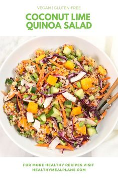 Quinoa just got a lot more delicious! This flavourful #vegan and #glutenfree dish features mango, edamame, cucumber, cabbage, coconut chips, and red onion! The whole salad is dressed with coconut, lime and agave! Enjoy for lunch or dinner! Lunch Recipes, Salad Recipes, Vegetarian Recipes, Healthy Recipes, Vegan Meals, Healthy Foods, Yummy Recipes, Coconut Quinoa Salad, Lime Quinoa Salad