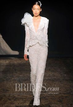 Brides.com: Lazaro Fall 2014 Lace Wedding Suit Wedding Dress | Click to see more from this collection!