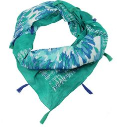 Feather Square Scarf - Teal