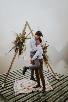 Truly Epic Tropical Bohemian Vietnam Elopement at Bai Tho Mountain Wedding Blog, Wedding Planner, Our Wedding, Wedding Photos, Dream Wedding, Masculine Wedding, Neutral Wedding Colors, Lesbian Wedding, Groom Style