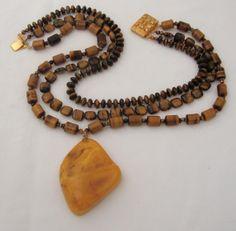 Sale Huge Vintage Polished AMBER Nugget necklace by MOUNTAINPOODLE, $199.00