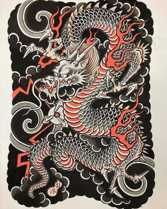 Tattoo f § sh - Kazuaki Kitamura (Horitomo) Dragon Tattoo Flash, Dragon Tattoo Art, Asian Dragon Tattoo, Japanese Dragon Tattoos, Dragon Artwork, Dragon Tattoo Designs, Japanese Drawings, Japanese Tattoo Designs, Japanese Tattoo Art