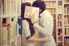 kissing in a library