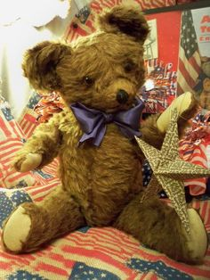 "ANTIQUE 1930s AMERICAN KNICKERBOCKER TEDDY BEAR BROWN MOHAIR 20"" #Knickerbocker"