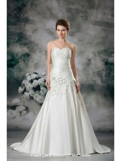 Satin Sweetheart Sweep Train A-line Embroidered Wedding Dress