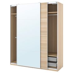 PAX / MEHAMN/AULI Wardrobe combination, white stained oak effect, mirror glass, cm. Keep it simple. Here's a basic solution to get you started, and space for more interiors if you want to upgrade. Ikea Wardrobe, Wardrobe Storage, Glass Wardrobe, Bedroom Storage, Pax System, Pax Planer, Powder Coating Wheels, Plastic Shelves