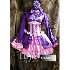 Cute Purple Pink Gothic Lolita Corset Cosplay Halloween Dress Costume SKU-131142