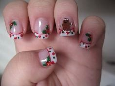 Christmas Nails - Nail Art Gallery by NAILS Magazine No Link. I couldn't handle the design, but could do the polka dot French tips. Fancy Nails, Love Nails, Trendy Nails, How To Do Nails, Holiday Nail Art, Christmas Nail Designs, Christmas Nail Art, Merry Christmas, Nail Art Designs