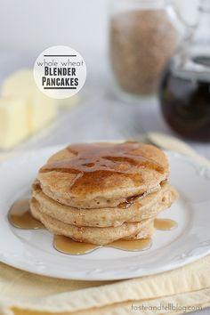 Whole Wheat Blender Pancakes - and a Blendtec Giveaway!   www.tasteandtellblog.com