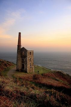 The preserved Wheal Prosper, Rinsey, Cornwall at dusk
